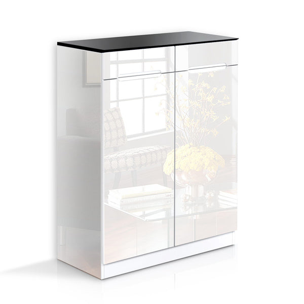 Artiss High Gloss Shoe Cabinet Rack- Black & White