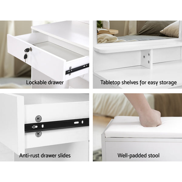 Artiss Dressing Table Mirror Stool Jewellery Cabinet Makeup Organizer Drawer