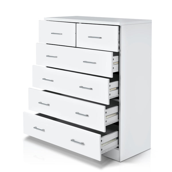 Tallboy 6 Drawers Storage Cabinet - White