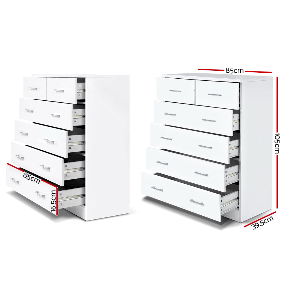 Tallboy 6 Drawers Storage Cabinet White-Furniture, Living Room-NextFurniture