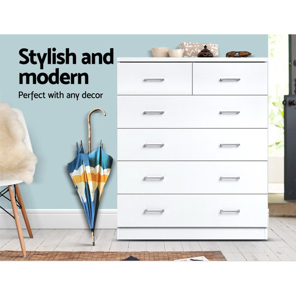 Tallboy 6 Drawers Storage Cabinet - White - Furniture Living Room