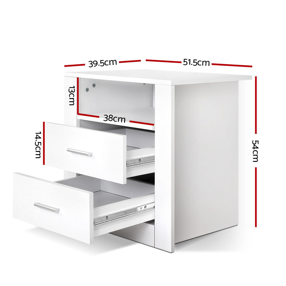 Anti-Scratch Bedside Table 2 Drawers - White-Furniture, Living Room-NextFurniture