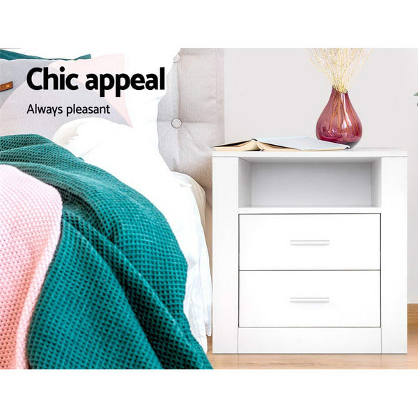 Anti-Scratch Bedside Table 2 Drawers - White - Furniture Living Room