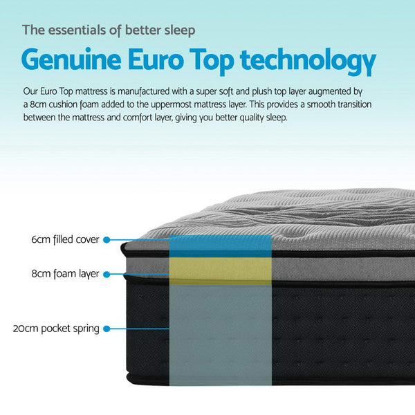 Giselle Bedding Alanya Euro Top Pocket Spring Mattress 34cm Thick – Double