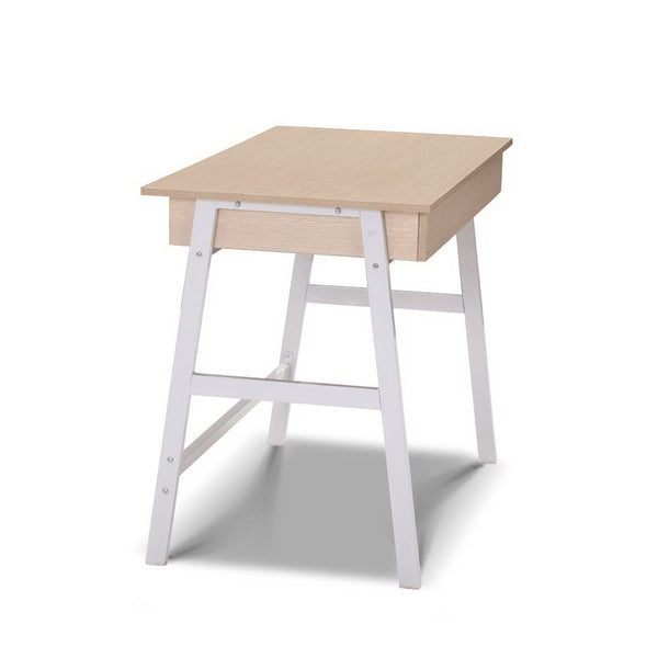 Metal Desk With Drawer - White With Oak Top - Furniture Office