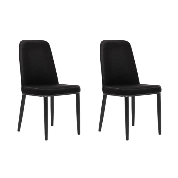 Artiss Set of 2 Dining Chairs Replica Kitchen Chair Black Fabric Padded Retro Iron Leg