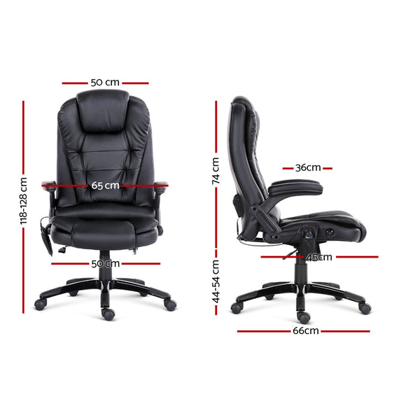 8 Point Pu Leather Reclining Message Chair - Black - Furniture Office