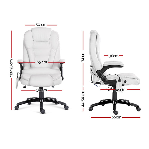 8 Point Pu Leather Reclining Message Chair - White - Furniture Office