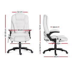 8 Point Massage Executive PU Leather Office Chair White-Furniture, Office-NextFurniture