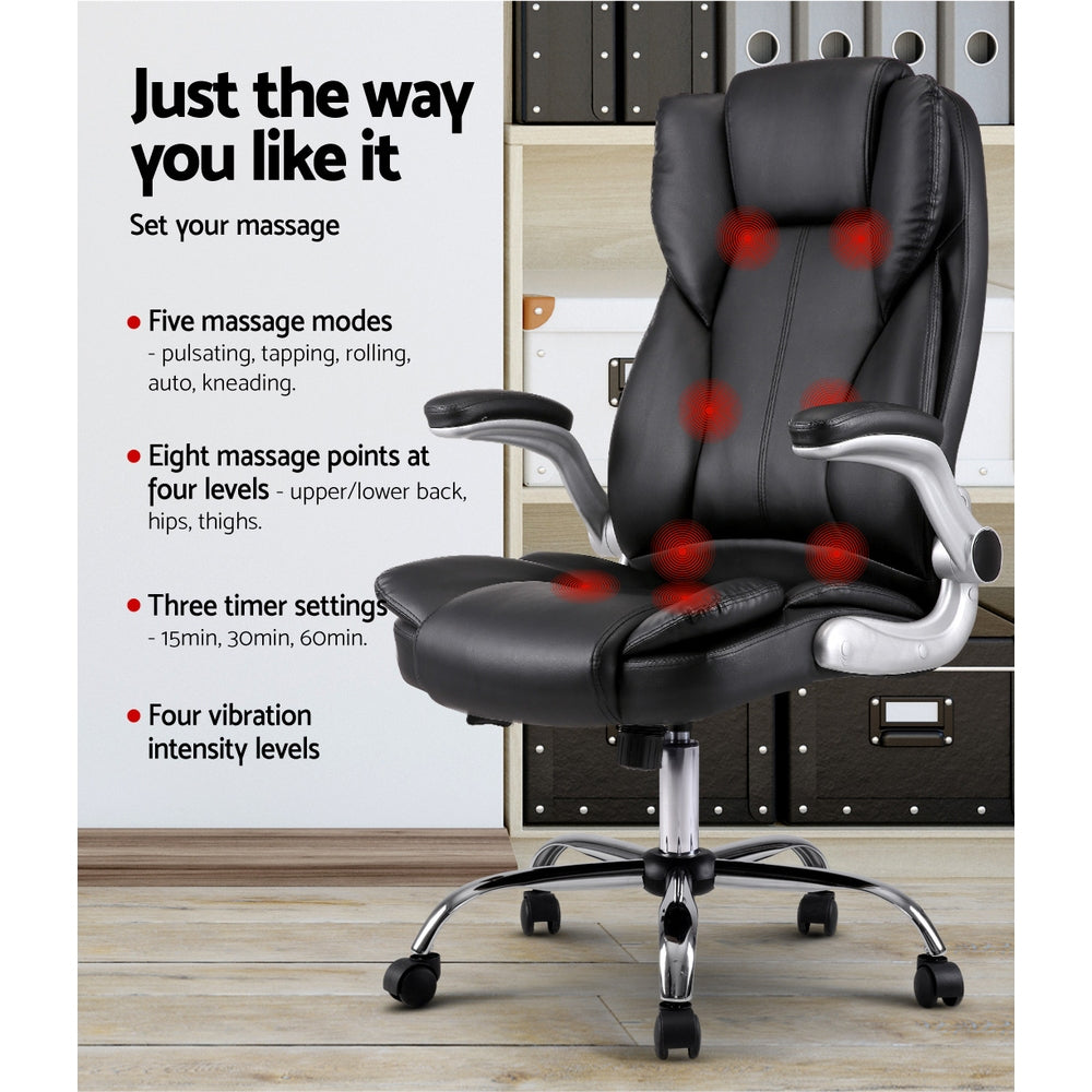 office chair controls. 8 Point PU Leather Massage Chair - Black Office Controls