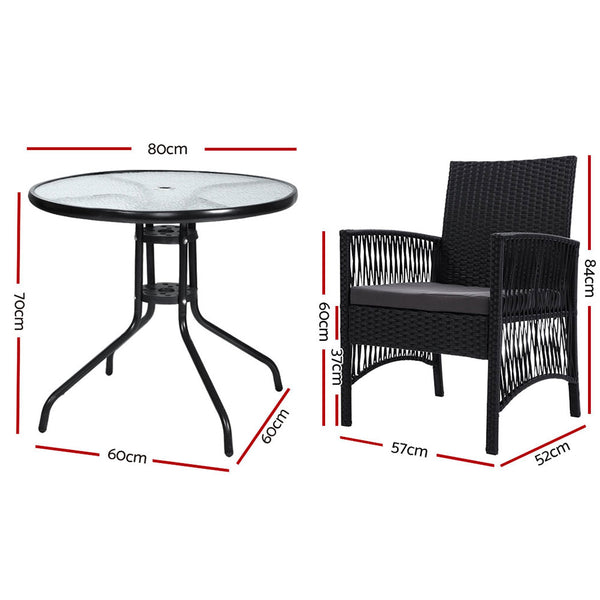 Gardeon Outdoor Furniture Dining Chairs Wicker Garden Patio Cushion Black 3PCS Tea Coffee Cafe Bar Set