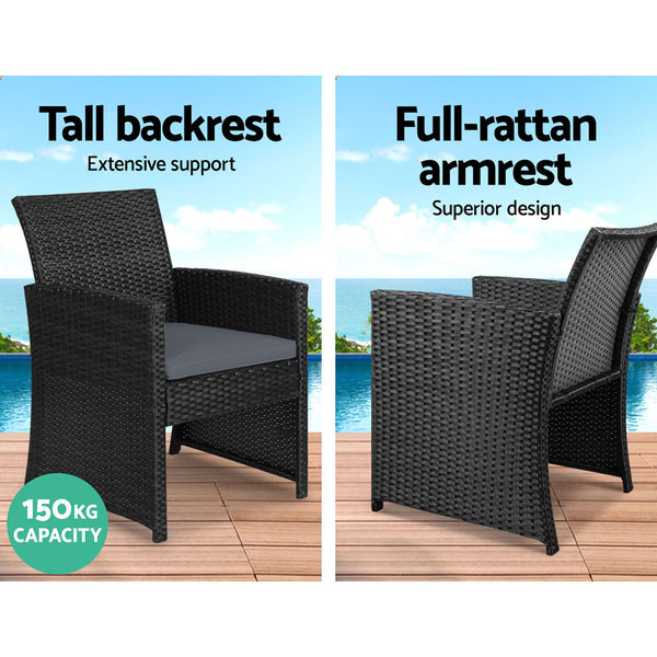 Gardeon Set of 4 Outdoor Wicker Chairs & Table - Black