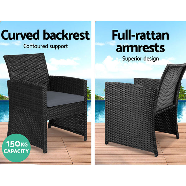 Gardeon Garden Furniture Outdoor Lounge Setting Wicker Sofa Set Storage Cover Black