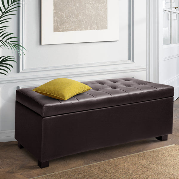 Artiss PU Leather Storage Ottoman - Brown