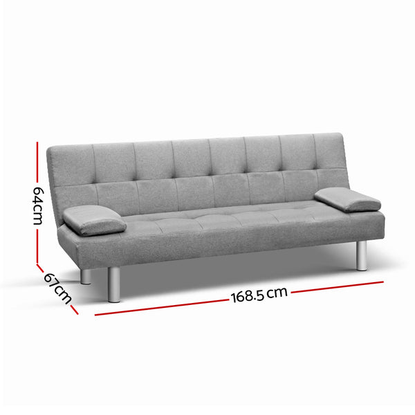 3-Seater Fabric Sofa Bed - Grey - Furniture Sofas
