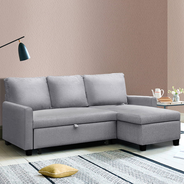 3 Seater Fabric Sofa Bed with Storage  - Grey