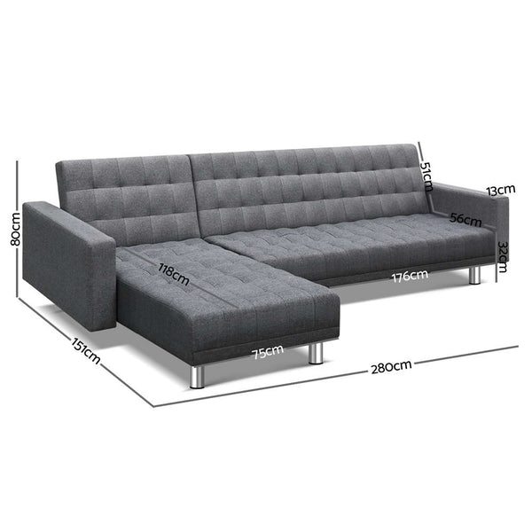Artiss Modular Fabric Sofa Bed - Grey