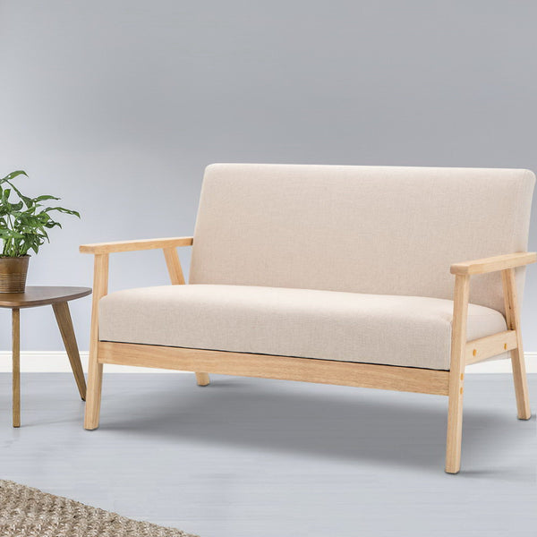 2 Seater Fabric Sofa Chair - Beige - Furniture Bar Stools & Chairs