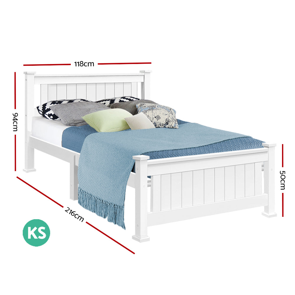 King Single Wooden Bed Frame - White   NextFurniture   Buy Now with ...