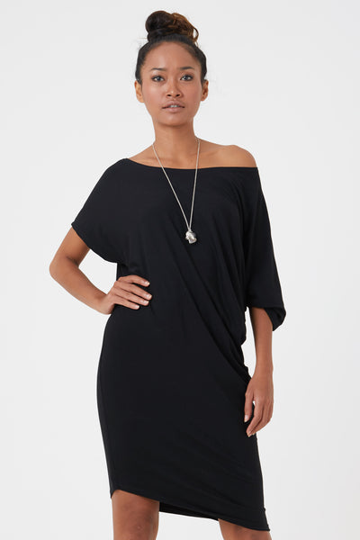 Black jersey dress made from eco friendly fibres