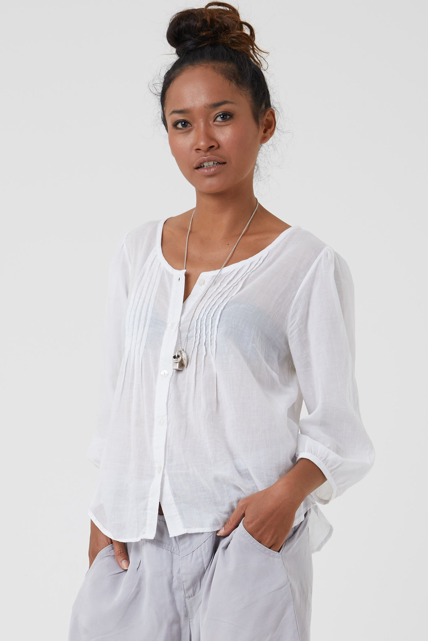White cotton pintuck shirt