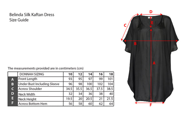 Black Silk Kaftan Size Guide