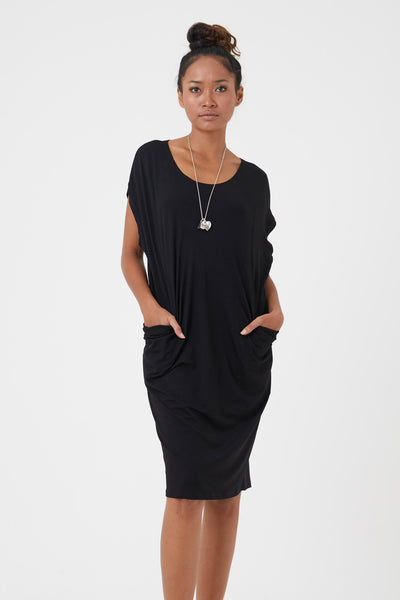 Women's organic dresses - Black jersey tunic by Donnah