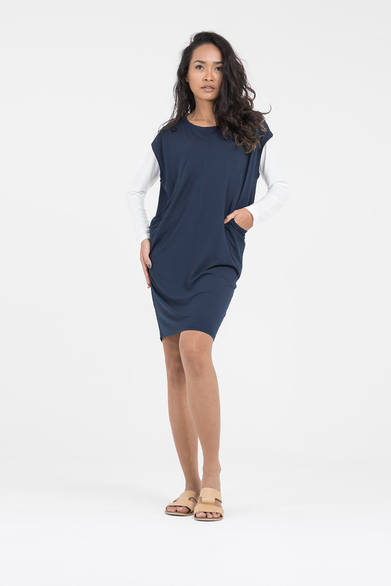 Ladies organic dresses - Billie tunic in navy by Donnah