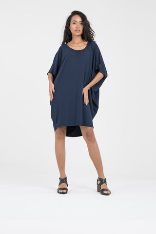 Cocoon Dress in Navy