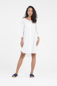 Organic women's linen dresses l dress with pintucks in white linen l Donnah