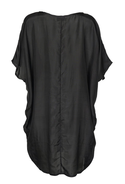 Close up back of Black Silk Kaftan