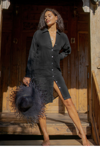 Womens 100% linen shirtdress in black