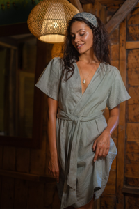 Jas Khaki Linen Dress
