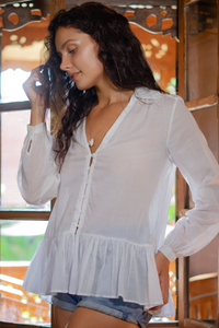 women's white bohemian blouse