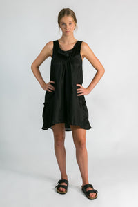 Womens silk dress in black l Organic women's fashion l Donnah