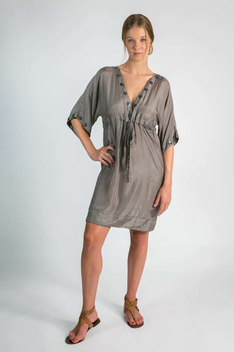 Women's organic clothing Australia l silk kaftan in taupe l Donnah