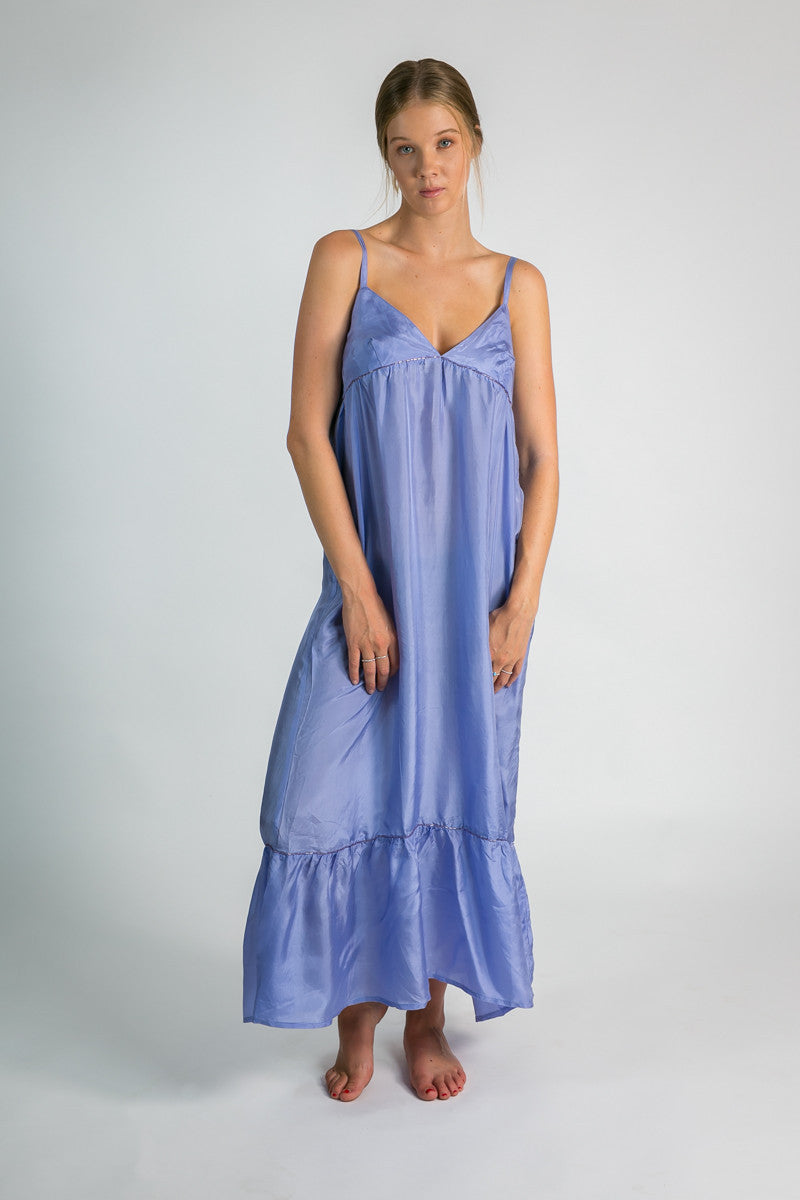 Ladies silk maxi dress in mauve