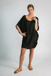 Ladies organic fashion Australia - black silk caftan dress by Donnah