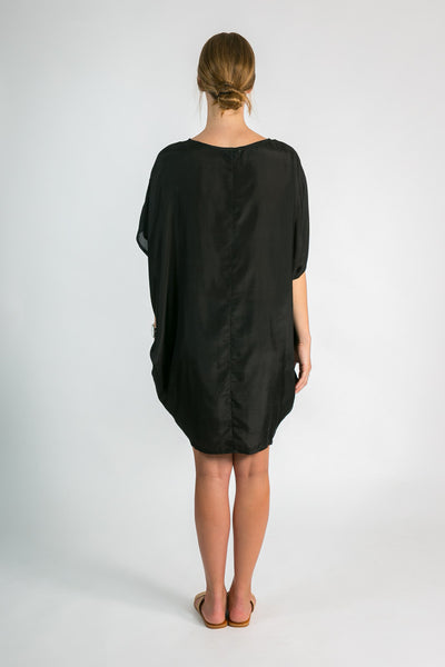 Back of Women's Black Silk Kaftan