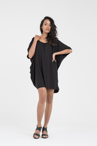 Cocoon Dress in Black Eco Friendly Jersey