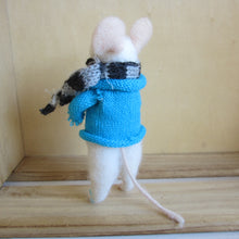 Felt Mouse with Blue Jumper