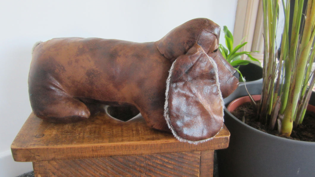 Dennis the Dachshund Faux Leather Doorstop