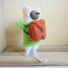 Felt mouse with Green jumper and Backpack