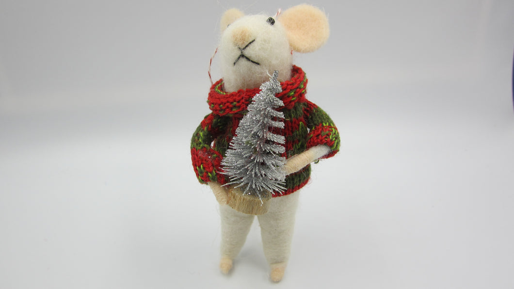 Felt Christmas mouse with Silver tree