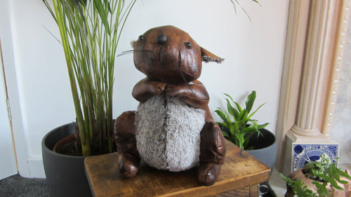 Sheldon the Squirrel Faux Leather Doorstop