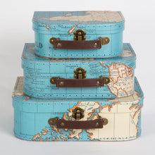 Vintage Map Storage Boxes/Suitcases Set of 3