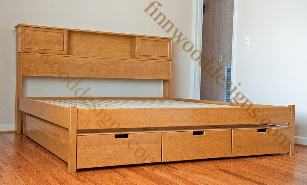 Bookcase Storage platform bed with Storage Drawers