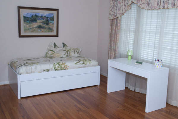 Designer Trundle Bed and Desk painted with white Milk Paint