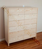 Custom double chest of drawers with scandinavian drawer pull