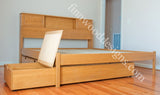 Custom maple bookcase Bed and storage drawers